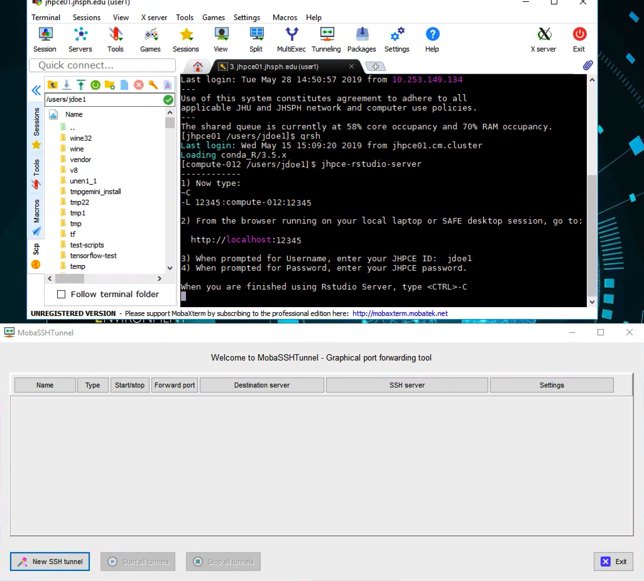 Running Rstudio Server on the JHPCE cluster | Joint HPC Exchange